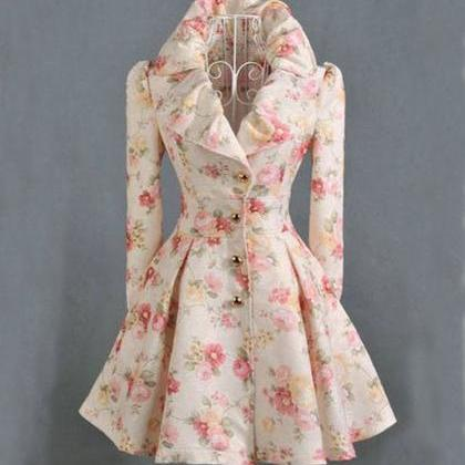 Peach Trench Coats-Printed Flower C..