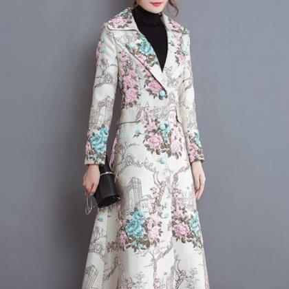 Slim Size Large Floral Long Winter ..
