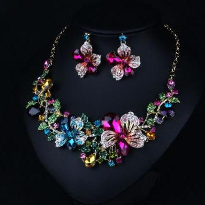 Jewelry Set for Women Floral Neckla..