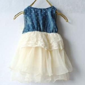 Infant Ivory Tutu Dress Denim Lace ..