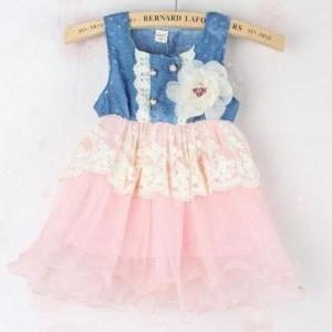 Girls Ivory Tutu Dress Denim Lace W..