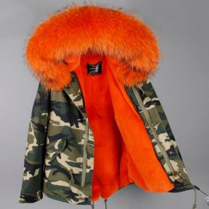 Unisex Orange Parkas Skiing Winter ..
