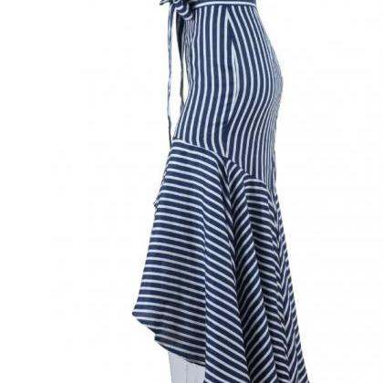 Navy Blue Modest Striped Ruffled Fl..