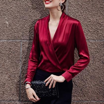 Rich Red Blouses with Open Front Ja..