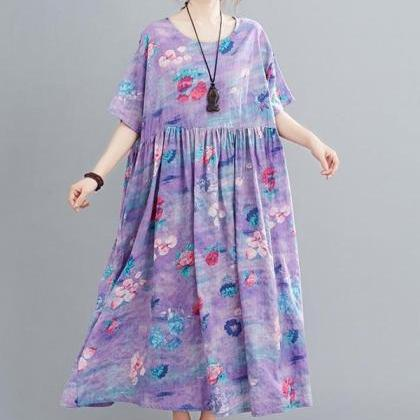Rsslyn High-Quality Linen Dress Lav..