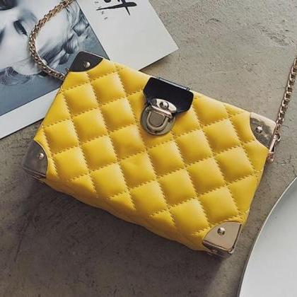 Yellow Box Shoulder Bag Quilted Lea..
