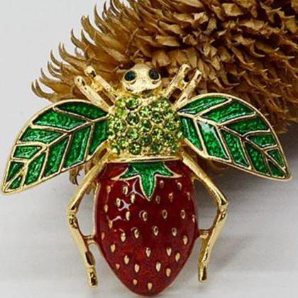 Strawberry Brooch and Pins for Wome..