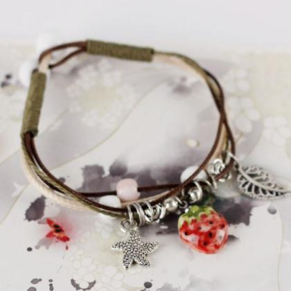 Strawberry Leather Bracelets for Wo..