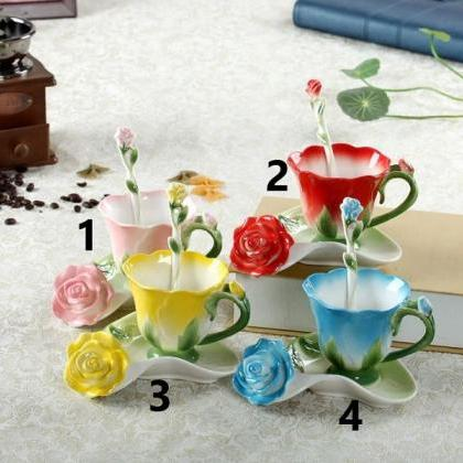 Rsslyn 3pcs/SET 3D Rose Ceramic Cof..