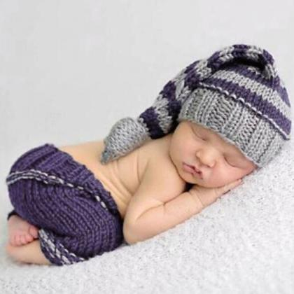 Purple Baby Props-Knitted Soft Hat ..
