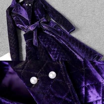 2020 Purple Long Cotton Padded Park..