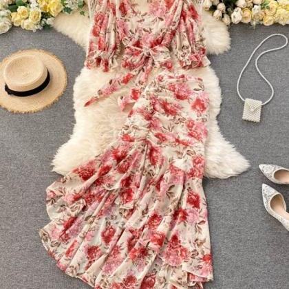 Rssyn 2pcs/ SET Mermaid Red Maxi Dr..