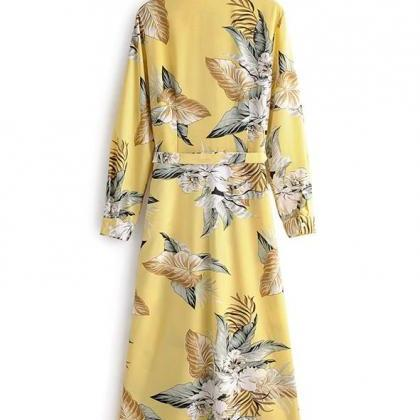 Yellow Pleated Dress Yellow Knee Le..