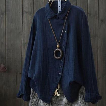 Loose Fit Blouses Linen Tops-Navy B..