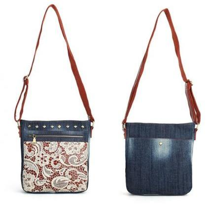 New Studded Denim Bag Women's Shoul..