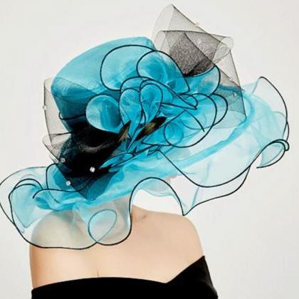 Turquoise Blue Ruffled Hats for Wom..