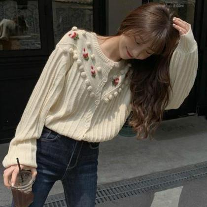 New Creamy Sweaters for Women Embro..