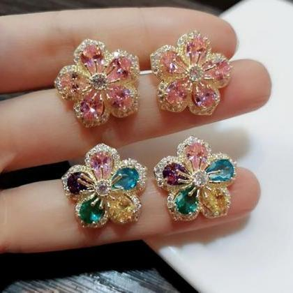 Pink Cubic Zirconia Lovely Flowers ..