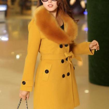 Beautiful Faux Fur Collar Golden Ye..