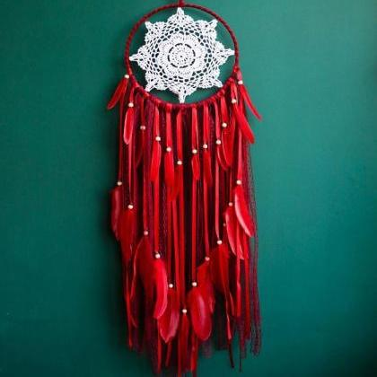 Red Dream Catcher Feathers and Lace..