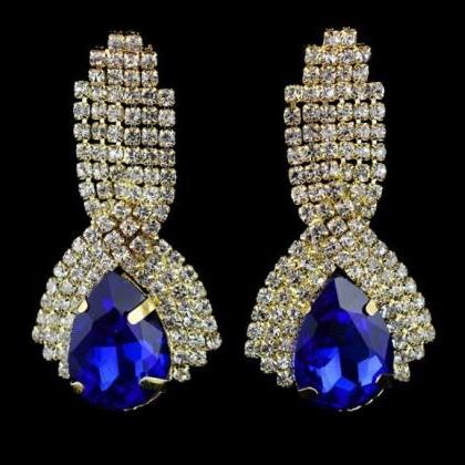 Royal Blue Earrings Gold Plated 18K..