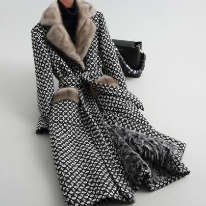 Fashion Plaid Trench Coats for Wome..