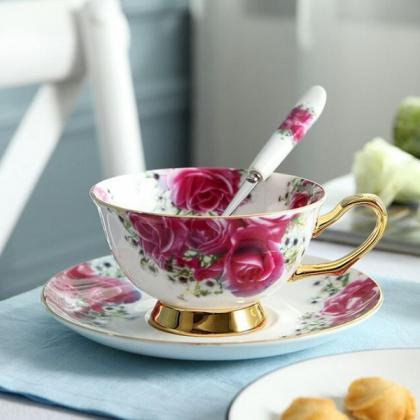 Rsslyn 3pcs/SET Pastoral Rose Tea C..