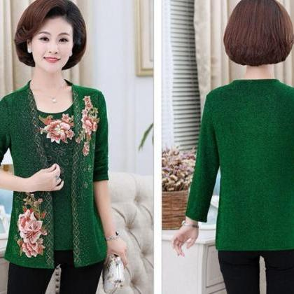 2pcs/SET Green Cardigan and Blouse ..