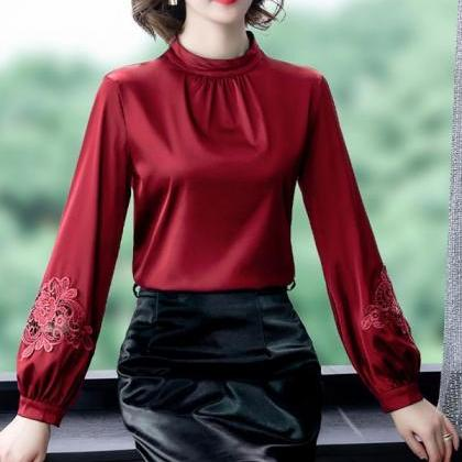 Rsslyn Burgundy Turtleneck Blouses ..