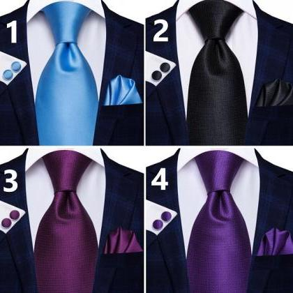 Rsslyn 3pcs/Set Blue Ties for Men P..