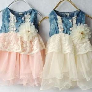 Pink Toddler Girl Denim Tutu Dress ..