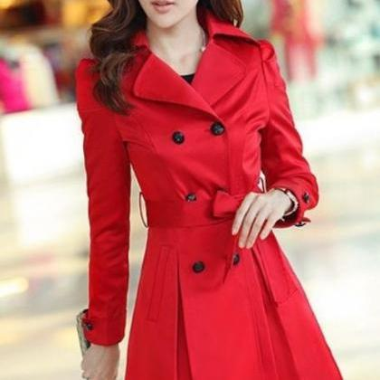 Red Coat Fashion Trench Winter Coat..