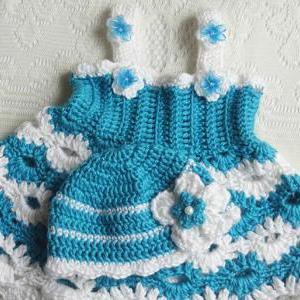 Crochet Aqua Blue Color Newborn Set..