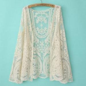 Off White Soft Lace Crochet Long Sl..