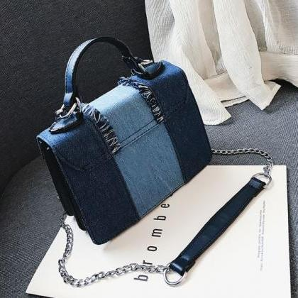 Denim Bags with Fray Design RSS Bou..