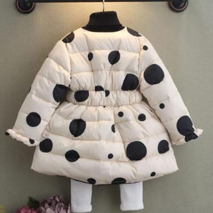 8ecb4c1d8 White Polka Dots Winter Coats For Girls 3T Winter Coats With Hood ...
