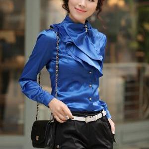 ROYAL BLUE SILK Casual Blouse Ruffl..