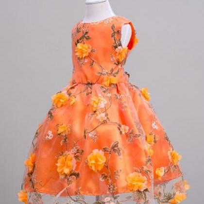 Orange Dress Pageant Dresses Embroi..