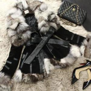 Genuine Fox Fur REAL Leather Pink C..