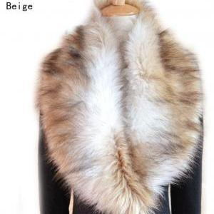 Black Winter Faux Fur Collar Scarf ..