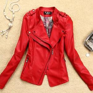 Red Leather Coat Motorcycle Leather..
