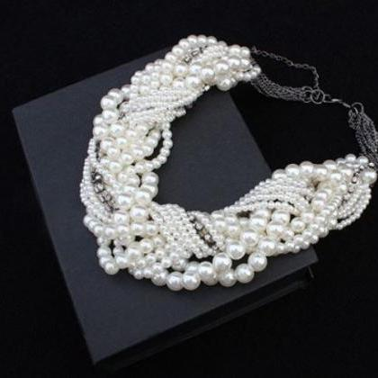Wedding White Pearl Necklace Luxury..