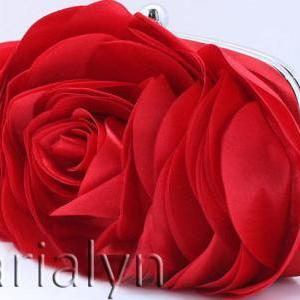 Big Rose RED Clutch Bridal and Brid..