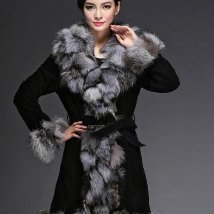 Black Coat Genuine Fox Fur Leather ..