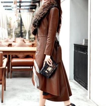 Brown Leather Trench Coats for Wome..