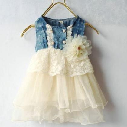 9 Months Ivory Dress for Girls with..