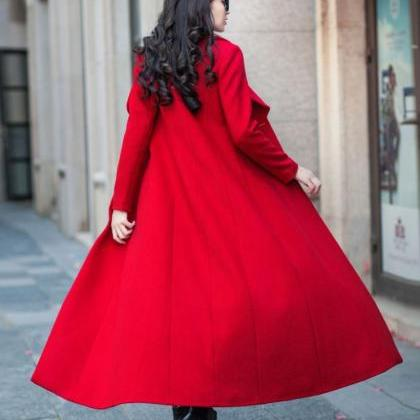 Thicker Luxury Red Long Coats-Sizes..