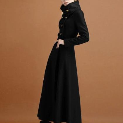 Rsslyn New Black Long Coats Turtlen..