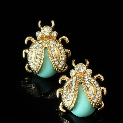 Golden Mint Green Stud Earrings for..