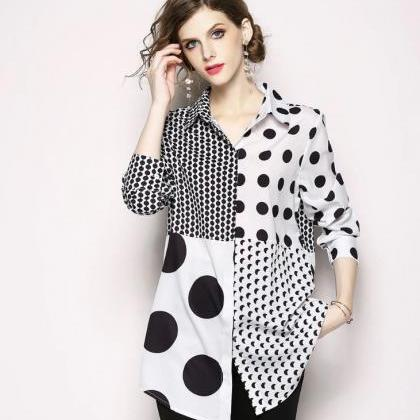 White Tunic for Women Big Dots and ..